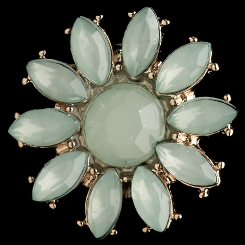 * Gold Mint Stone Flower Stud Earrings 82058