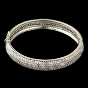 Rhodium Pave Double Sided CZ Crystal Bangle Bracelet 9747