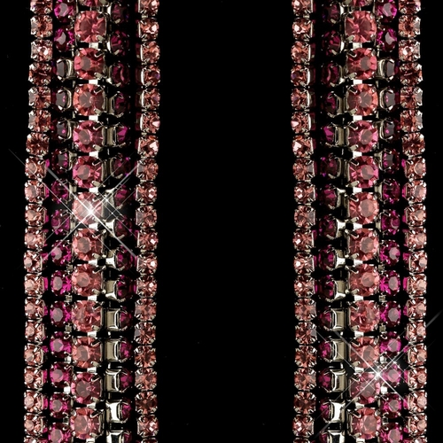 Rhodium Pink Rhinestone Dangle Earrings 82019