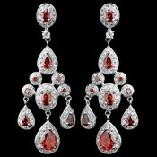 Rhodium Red Teardrop CZ Chandelier Earrings 8677