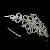 Rhodium Rhinestone Teardrop Design Side Headband