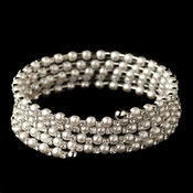 Rhodium Rhinestone & White Pearl 5 Row Coil Stretch Bracelet 1425