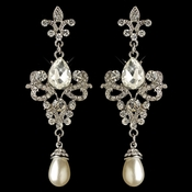 Rhodium Rhinestone & White Pearl Fleur de lis Dangle Earrings 3760