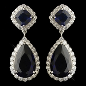 Rhodium Sapphire & Clear CZ Teardrop Crystal Dangle Earrings 5828