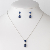 Rhodium Sapphire CZ Crystal Bridal Wedding Necklace 9729 & Drop Earrings 9729 Jewelry Set