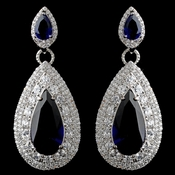 Rhodium Sapphire Teardrop CZ Drop Earrings