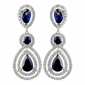 Rhodium Sapphire Teardrop & Round CZ Dangle Earrings