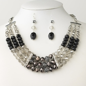 Rhodium/Silver Black & Smoke Glass Faceted Bridal Wedding Jewelry Set 9520 9527