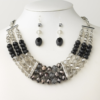 Rhodium/Silver Black & Smoke Glass Faceted Bridal Wedding Necklace 9520 ( Necklace Only )