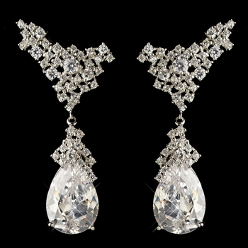 Rhodium Silver Clear CZ Vintage Earrings 1684