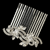Rhodium Silver Clear Vintage Swirl Comb 9937
