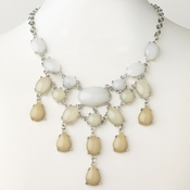 Rhodium Silver With Cream Fashion Necklace 9512