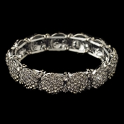 Rhodium Smoke Pave Circle Rhinestone Stretch Bracelet 82020