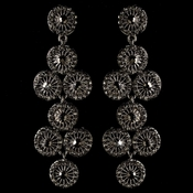 Rhodium Smoke Rhinestone Retro Circle Wheel Dangle Earrings 82017