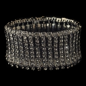Rhodium Smoke Rhinestone Stretch Bracelet 82023