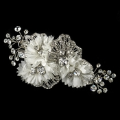 ✧SPECIAL ORDER ONLY✧ Rhodium White Floral Mesh Organza Comb (Minimum Order 24 peices x $33 each)