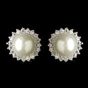 Rhodium White Pearl & CZ Crystal Stud Earrings 9396