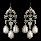 Rhodium White Pearl & Rhinestone Chandelier Earrings 1221