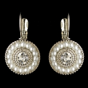 Rhodium White Pearl & Rhinestone Circle Leverback Drop Earrings 295 * 1 Left *