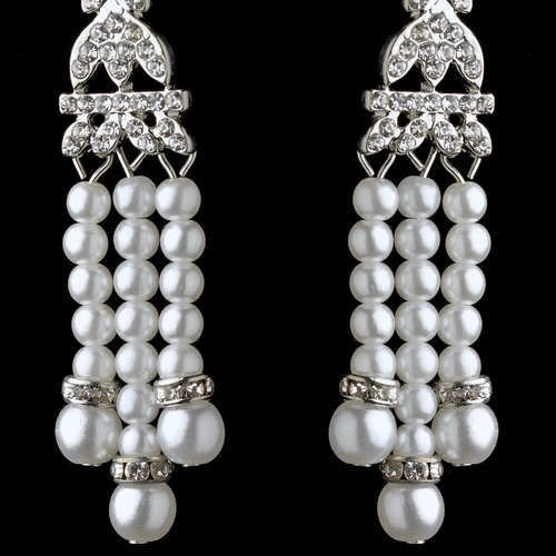 Rhodium White Pearl & Rhinestone Dangle Great Gatsby Earrings 2365