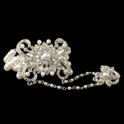Rhodium White Pearl & Rhinestone Floral Great Gatsby Stretch Bracelet & Ring 76001
