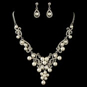 Rhodium White Pearl & Rhinestone Swirl Jewelry Set 4213