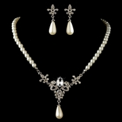 Rhodium Diamond White Pearl & Rhinestone Vintage Fleur de lis Jewelry Set 4215***Discontinued***