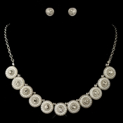 Rhodium White Pearl & Round Rhinestone Jewelry Set 269 * 1 Left *