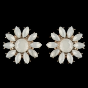 * Gold White Stone Flower Stud Earrings 82058