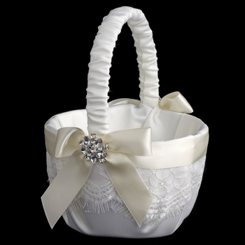 Ribbon & Brooch Flowergirl Basket Set 848