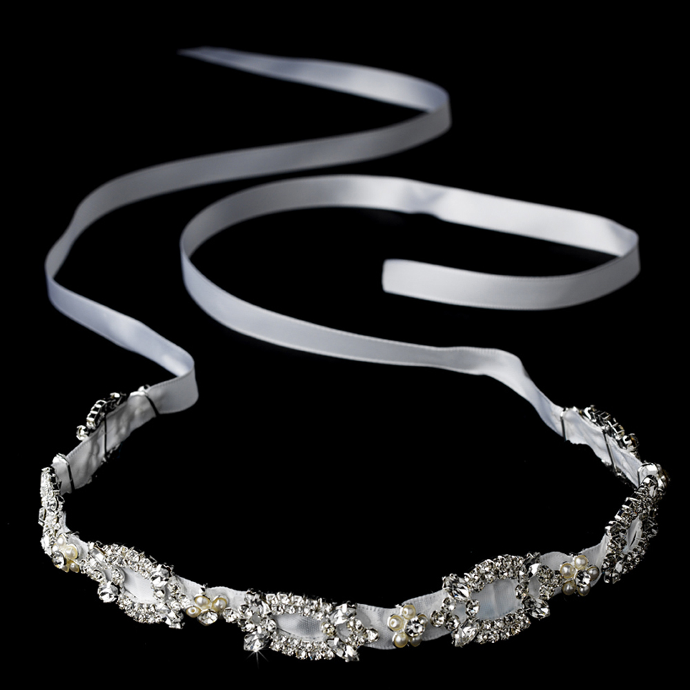Ribbon Style Bridal Headband HP 8209 White 34ecfc790bb