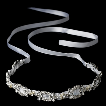 * Ribbon Style Bridal Headband HP 8209 White