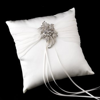 Ring Pillow 11 with Antique Clear Floral Brooch 16