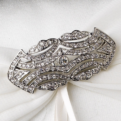 Ring Pillow 11 with Antique Silver Clear Cubic Zirconia Brooch 3163