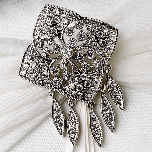 Ring Pillow 11 with Antique Silver Clear Rhinestone Quadrant Brooch 115