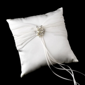 Ring Pillow 11 with Antique Silver Marquise Crystal & Pearl Brooch 118
