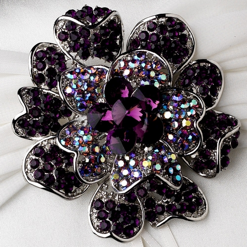 Ring Pillow 11 with Crystal & Rhinestone Floral Brooch 8779