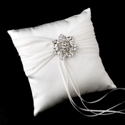 Ring Pillow 11 with Silver Clear Crystal Floral Star Brooch 63