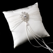 Ring Pillow 11 with Silver Clear Dangle Pear Brooch 3438