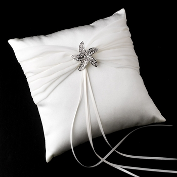 Ring Pillow 11 with Silver Clear Rhinestone Beach Starfish Brooch 3177