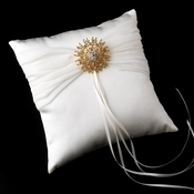 Ring Pillow 11 with Silver Clear Sun Brooch 3179