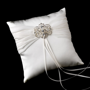 Ring Pillow 11 with Silver Clear Vintage Swirl Brooch 46