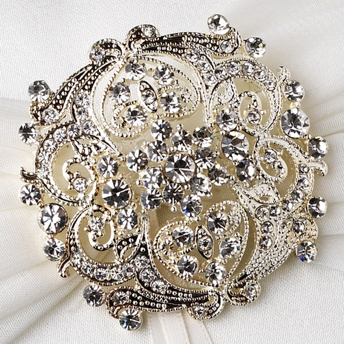 Ring Pillow 11 with Vintage Rhinestone Brooch 3181