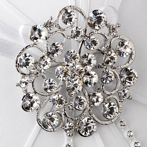 Ring Pillow 16 with Antique Silver Clear Crystal Floral Brooch 58