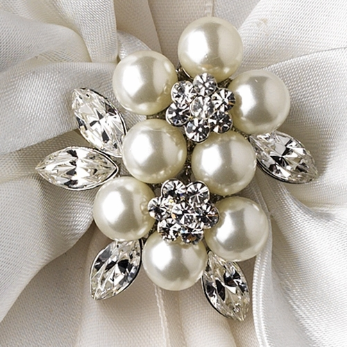 Ring Pillow 17 with Antique Silver Marquise Crystal & Pearl Brooch 118