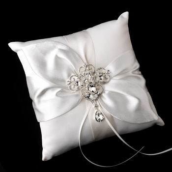 Ring Pillow 17 with Dangling Pear & Marquise Crystal Brooch 44