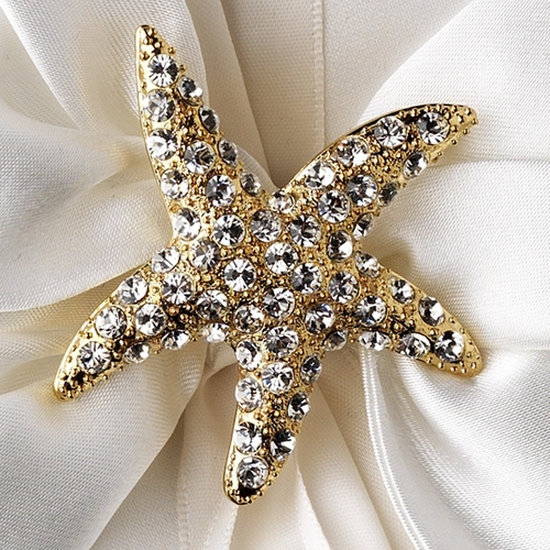 Ring Pillow 17 with Gold Clear Rhinestone Starfish Brooch 93