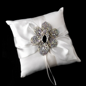 Ring Pillow 17 with Silver AB Marquise Crystal & Rhinestone Brooch 8798