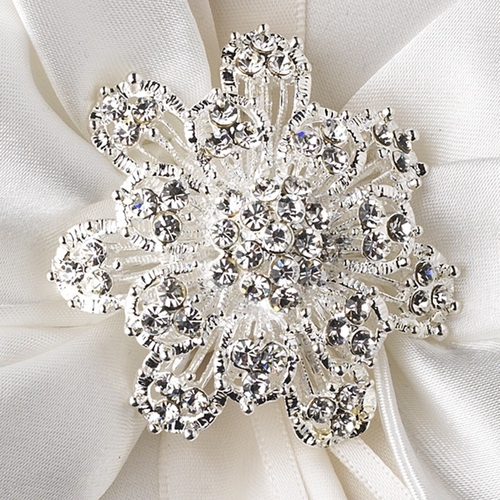 Ring Pillow 17 with Silver Clear Floral Rhinestone Cluster Brooch 3167