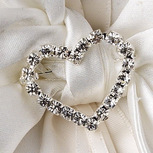 Ring Pillow 17 with Silver Clear Heart Brooch 30022